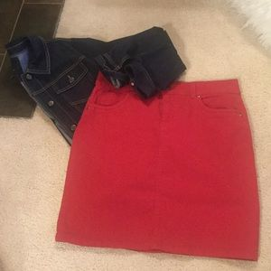 NWOT Red Denim Skirt